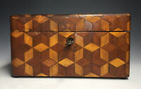 Antique 19th C. Victorian Wood Marquetry Inlaid Sewing Box w/ Key Woodenware