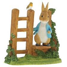 More details for beatrix potter peter rabbit on wooden stile ornament hand-painted resin figurine