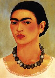 Frida Kahlo - Self-portrait with the collar - A3 29.7x42cm Canvas Print Unframed