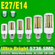 e27 e14 warm cool white 5/7/9/12/15/20w 5736 led lamp corn bulb 220v hotel light