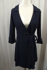 Lulus Womens Wrap Dress Small Navy Blue Tie 3/4 Sleeves Sexy Collared