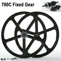 iMeshbean Fixed Gear 700c CNC 5-Spoke Rims Mag Alloy Wheelset Fixie Bike Wheels