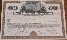 'Republic Steel Corporation' Stock / Bond Certificates - 100 PIECES
