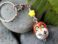 Orange Owl and Yellow Star Keychain- ceramic bird on iron key ring- other colors
