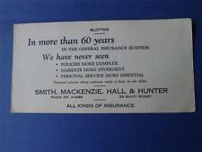 ADVERTISE INK BLOTTER SMITH MACKENZIE HALL & HUNTER INSURANCE OLD PHONE NUMBER