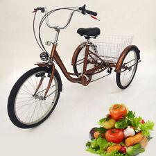 """24"""" Dreirad Für Erwachsene Fahrrad Erwachsenendreirad City Bike mit Licht Korb"""