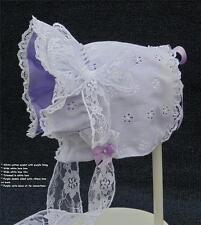 New Handmade White Eyelet with Purple Lining Baby Bonnet