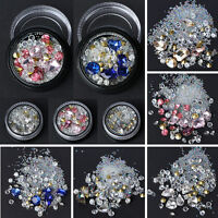 Mixed DIY Nail Art Tips Crystal Glitter Rhinestone Diamond Decoration+Wheel 3D