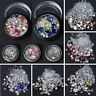 Mixed DIY Nail Art Tips Crystal Glitter Rhinestone Diamond Decoration+Wheel 3D