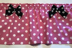 """Baby Pink Minnie Mouse Curtain Valance Window Topper Cotton fabric 43""""W x 15""""L"""