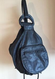 Wilsons Leather Shoulder Pack Backpack Black Genuine Leather Large