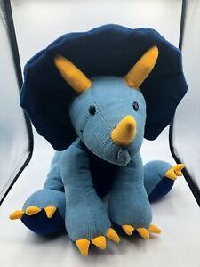 Gund Aaah Dinosaurs Trevor The Triceratops Blue Plush Kids Stuffed Toy Corduroy