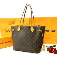 Louis Vuitton Monogram Neverfull MM Tote Bag Brown Auth MM5019