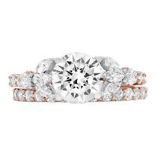2.62 Round Cut Bridal Anniversary Engagement Wedding Ring Set 14k MultiTone Gold