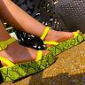 Liliana RASHA-31 Lime Snake Open Toe Ankle Strap Flatform Platform Sandal