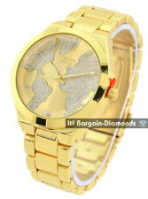 "teen boyfriend gold tone world map clubbing watch dial link 7"" bracelet unisex"