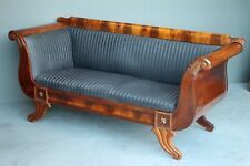 Antique Biedermeier mahogany settee classic scroll sofa carved acanthus 1800s