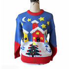 Vintage Adell Barre Ugly Christmas Sweater Blue Red White Size Medium