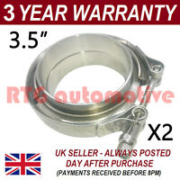 "2X V-BAND CLAMP + FLANGES ALL STAINLESS STEEL EXHAUST TURBO HOSE 3.5"" 89mm"