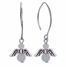 angel shaped with green aventurine Sterling silver drop dangle earrings