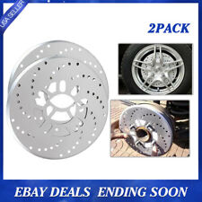 2x Silver Tone Aluminum Cross Drilled Car Disc Brake Rotor Cover 4/5 bolts wheel