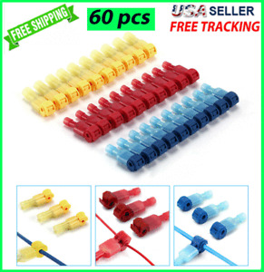 60pcs T-Taps Wire Terminal Connectors Insulated 22-10 AWG Quick Splice Combo Kit