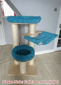 Handmade TEAL CHENILLE Removable Cat Bed Replacement Set for Natural Paradise L