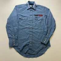 Vintage Wrangler Western Pearl Snap Long Sleeve Button Shirt Size S Blue Mens