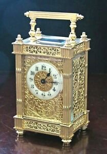 RARE ANTIQUE FRENCH CARRIAGE CLOCK, FULL GILT FILIGREE ON 3 SIDES, WORKING WELL