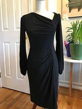 Sexy Women's CHAPS Black Sheath Side Gathered Dress Slit Sleeves NWT S