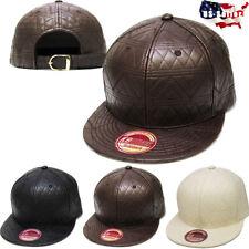 PU Leather Strapback Stitched Hat Cap Snapback Flat Brim