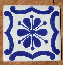 """20~MEXICAN TALAVERA POTTERY 4"""" tile Hand Painted Blue COBALT BLUE & WHITE"""