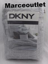 DKNY Donna Karan City Pleat FULL / QUEEN Duvet Cover & EURO Shams Set Gray