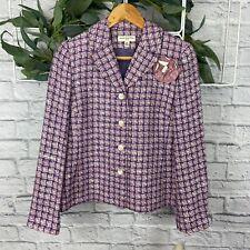 Amanda Smith Petite Suits Purple and Pink Tweed Blazer Jacket - Size 6P - NWT