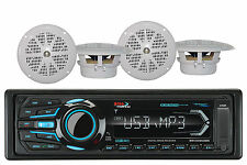 "2 White 4"" Marine Speakers & Marine Boss AM FM Bluetooth AUX USB iPhone Radio"