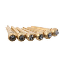 6PCS Brass Guitar Bridge Pins End Pin w/ Black Crystal Dot for Acoustic Guitar