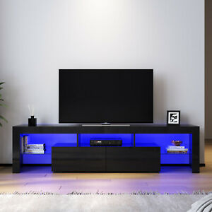 TV Cabinet Entertainment Unit Stand RGB LED 16 Colours Storage Shelf High Gloss