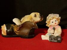 "Singing Baby Girl with Boombox & Dog in a Shoe Resin Figurines 2 1/2"" h France"