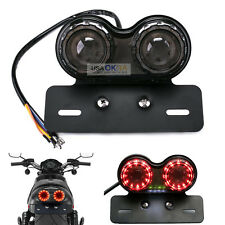 Smoke LED License Plate Turn Signal Tail Light For Bobber Cafe Racer ATV Chopper