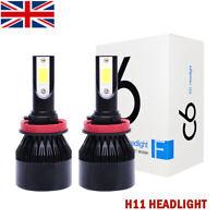 2x H11 H9 H8 COB LED Headlight Kit 200W 30000LM Fog Light Lamp Bulbs 6000K White