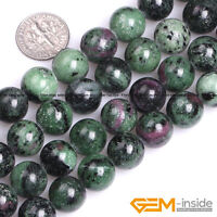 """Natural Stone Ruby Zoisite Round Loose Beads For Jewelry Making Strand 15"""" YB"""