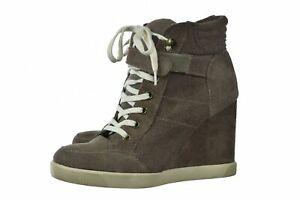 Steve Madden Lleve Womens Shoes Size 7.5 Taupe Gray Sneaker Wedge High Top Suede
