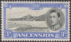 Ascension 1938 KGVI Long Beach 3d Black and Ultramarine Mint SG42 cat £100