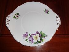 Un Stamped Old Cake, Bread And Butter Or Biscuit Plate Purple Flowers
