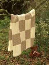 Aran Woollen Mills 100% Merino Wool Knit Throw - Cream and Taupe - New