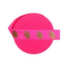 "5 Yard 5/8"" Gold Unicorn Foil Print Fold Over Elastic FOE Spandex Band Lace Trim"