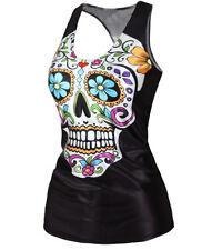 Ladies Sugar Skull top, size 10-12 UK, racer back, vest, sugarskull, tattoo