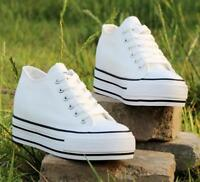 Women's Chic Canvas Lace Up Wedge Heels Sneakers Platform Creeper Casual Shoes