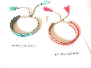 Banana Republic Ombre Twine Tassel Rope Bracelet NWT $44 Green Pink