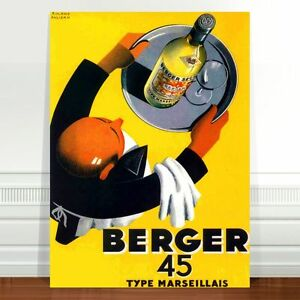 """Vintage French Wine Poster Art ~ CANVAS PRINT 16x12"""" Berger 45"""